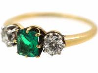 Edwardian 18ct Gold Three Stone Emerald & Diamond Ring