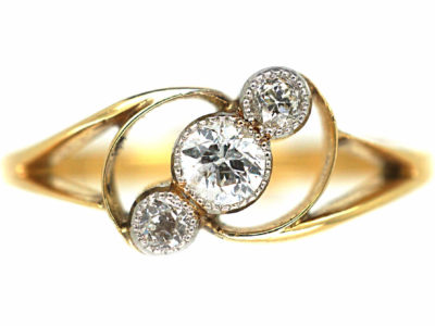 Art Nouveau 18ct Gold & Diamond Three Stone Crossover Ring