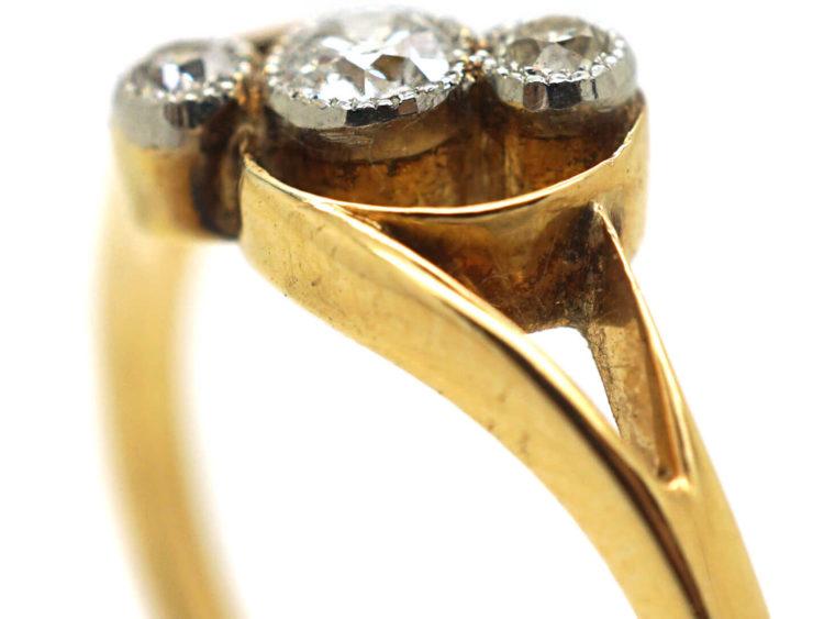 Art Nouveau 18ct Gold & Diamond Three Stone Crossover Ring