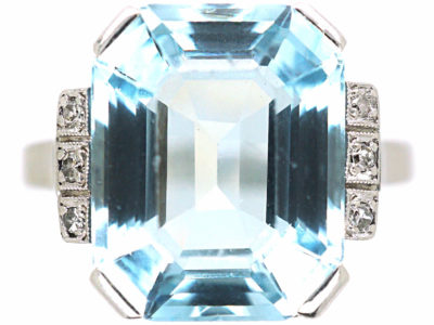 Art Deco 14ct White Gold, Aquamarine & Diamond Ring