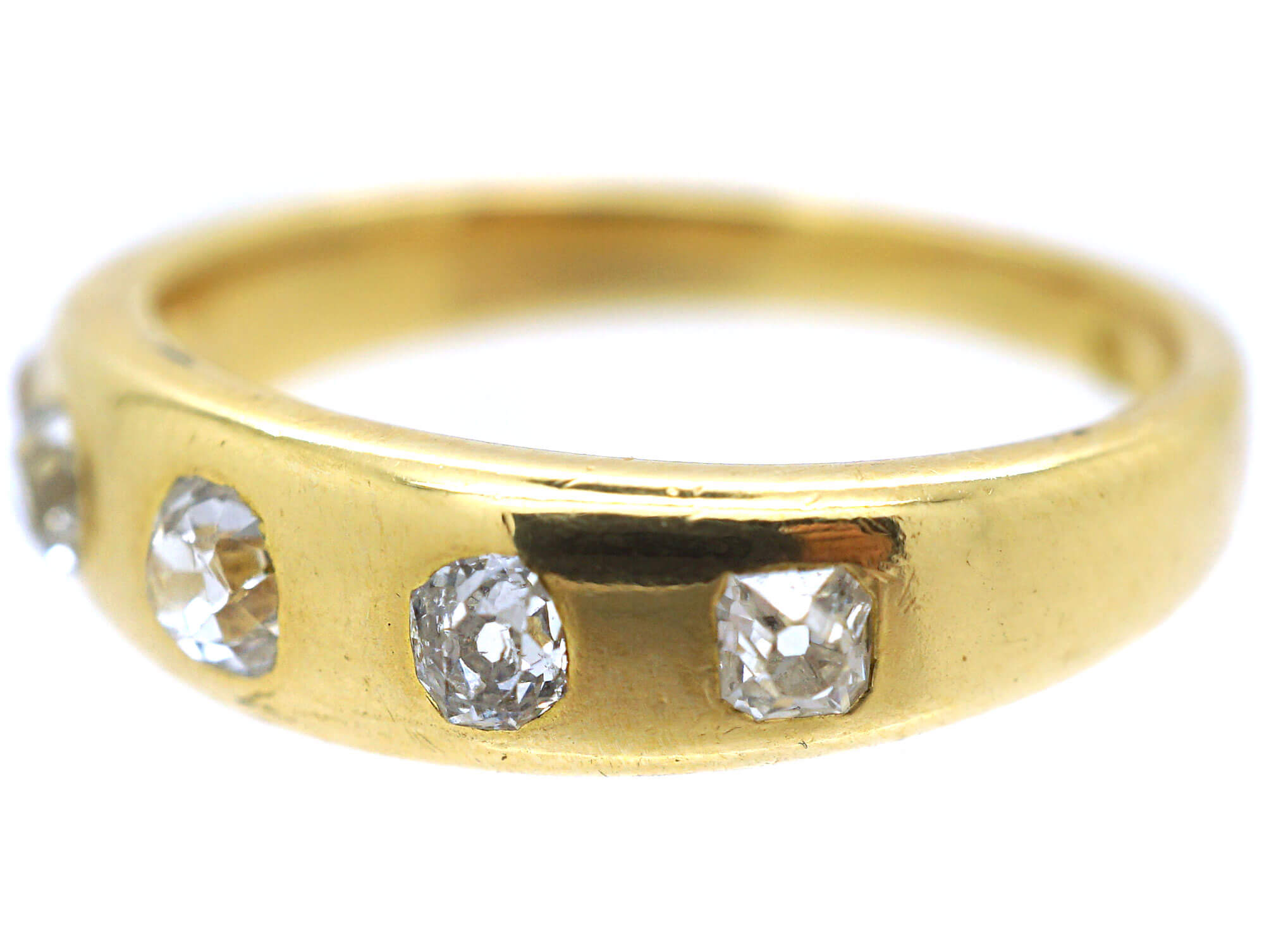 Victorian Five Stone Diamond Rub Over Set Ring