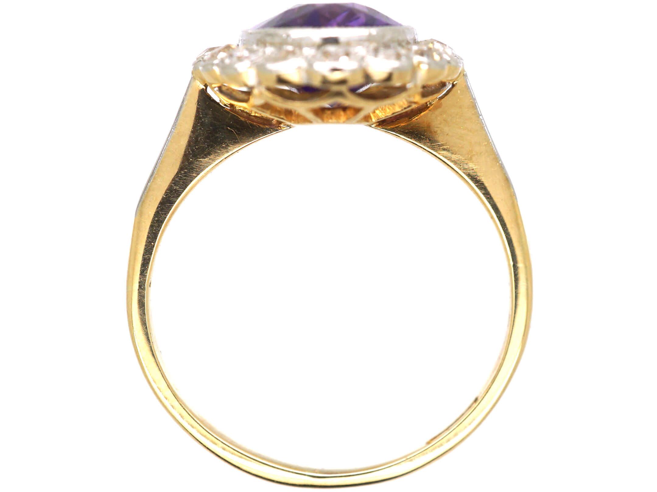 Edwardian 18ct Gold & Platinum, Siberian Amethyst & Diamond Oval Cluster Ring