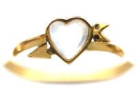 Edwardian 18ct Gold Moonstone Ruby & Diamond Heart & Arrow Ring