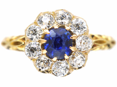 Edwardian 18ct Gold Sapphire & Diamond Cluster Ring