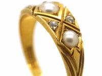 Victorian 18ct Gold Natural Split Pearl & Rose Diamond Ring