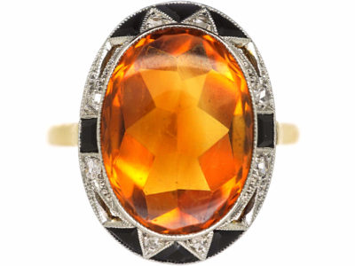Art Deco 18ct Gold & Platinum, Madeira Citrine, Onyx & Rose Diamond Ring