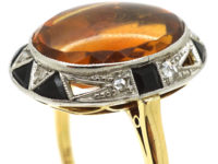 Art Deco 18ct Gold & Platinum, Madeira Citrine, Onyx & Rose Diamond Ring