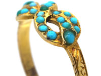 Early Victorian 15ct Gold & Turquoise Bow Ring