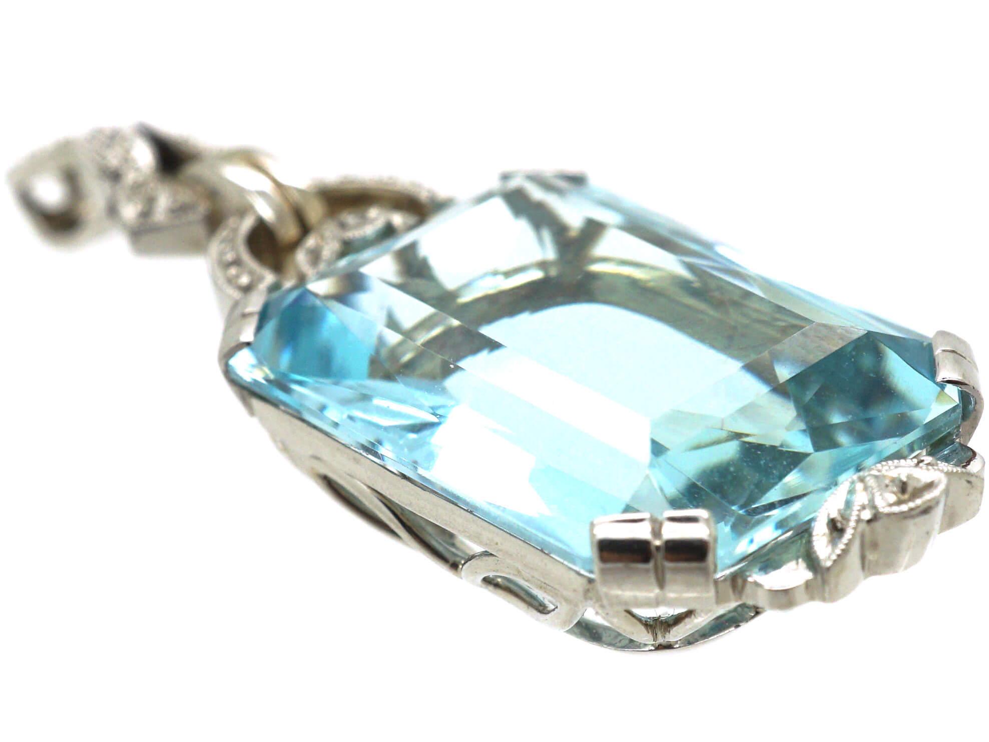 Art Deco 14ct White Gold Aquamarine & Rose Diamond Pendant