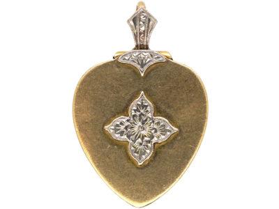 Art Deco 9ct Gold & Palladium Heart Shaped Locket