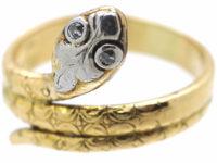 Edwardian 18ct Gold, Platinum & Rose Diamond Snake Ring