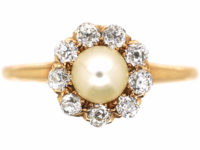 Edwardian 14ct Gold, Natural Pearl & Diamond Cluster Ring