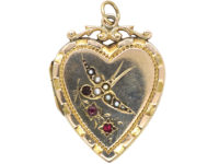 Edwardian 9ct Gold Back & Front Heart Shaped Locket with Swallow Motif