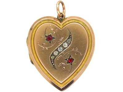 Edwardian 9ct Gold Back & Front Heart Shaped Locket with Twist motif