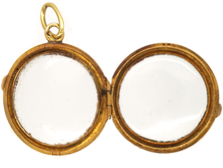 French 18ct Gold Round Double Sided Crystal Locket