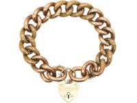 Edwardian 9ct Gold Large Curb Link Bracelet with 9ct Gold Padlock