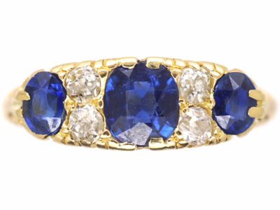 Victorian 18ct Gold Three Stone Sapphire & Diamond Carved Half Hoop Ring