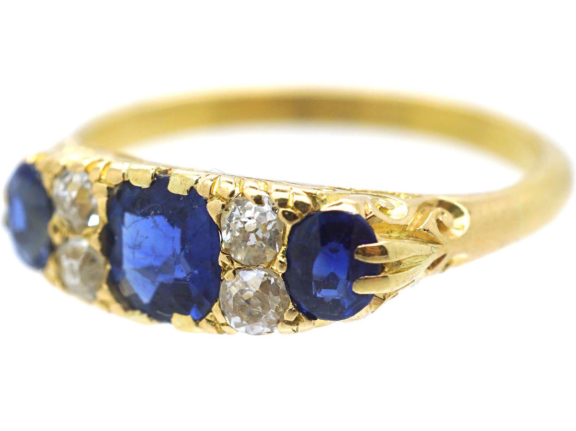 Victorian 18ct Gold Three Stone Sapphire & Diamond Carved Half Hoop Ring