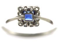 Art Deco Platinum Sapphire & Diamond Square Ring