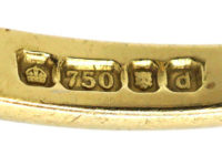 18ct Gold, Emerald & Diamond Rectangular Ring