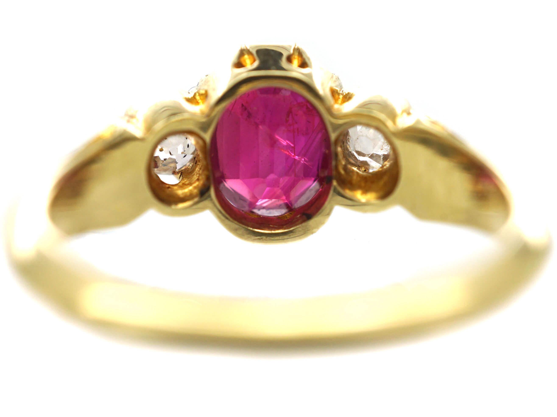 Victorian 18ct Gold, Burma Ruby & Diamond Three Stone Ring