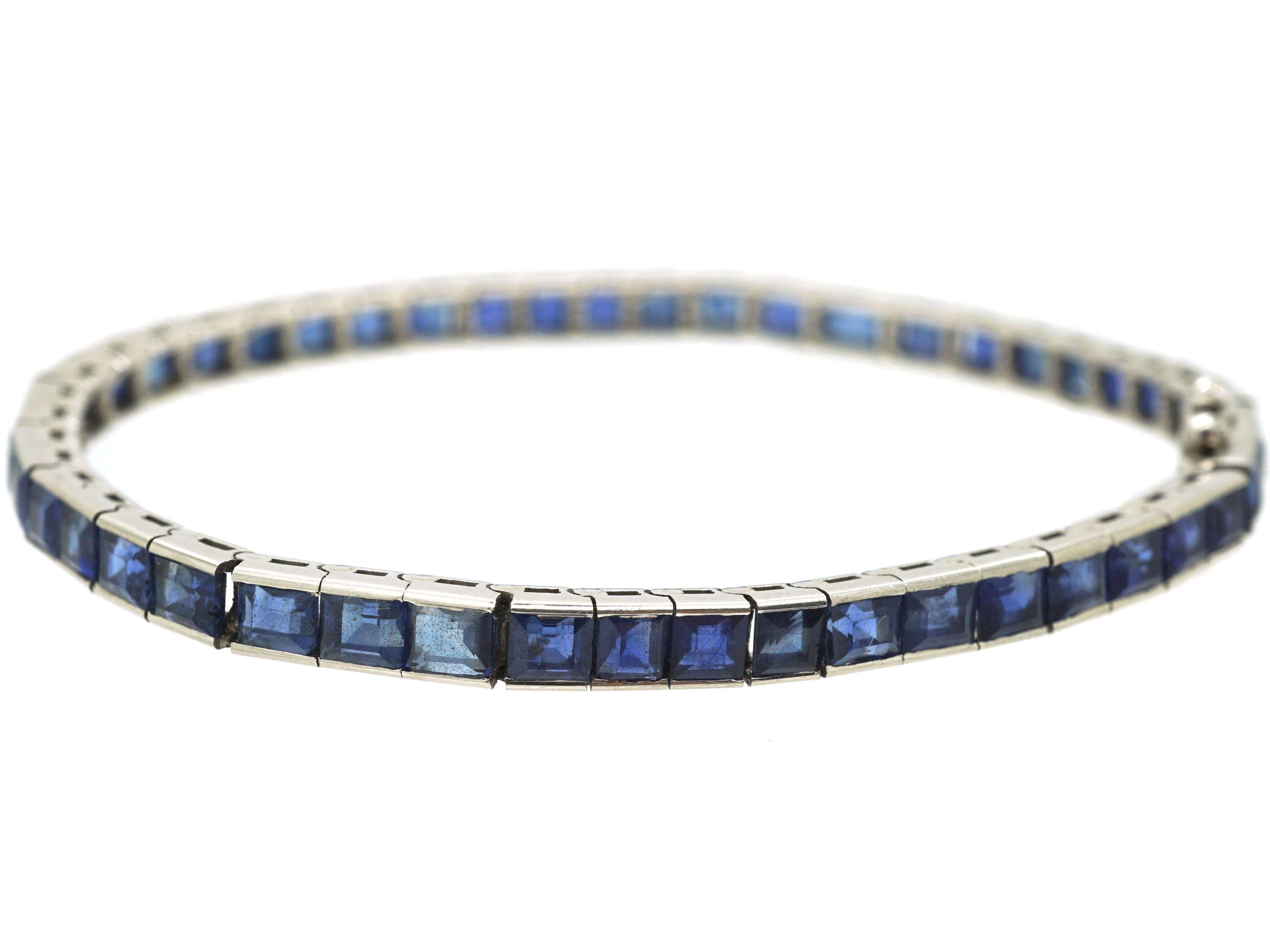 French Art Deco 18ct White Gold, Sapphire Line Bracelet