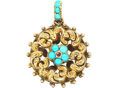 Georgian 18ct Gold Forget me Not Double Sided Locket