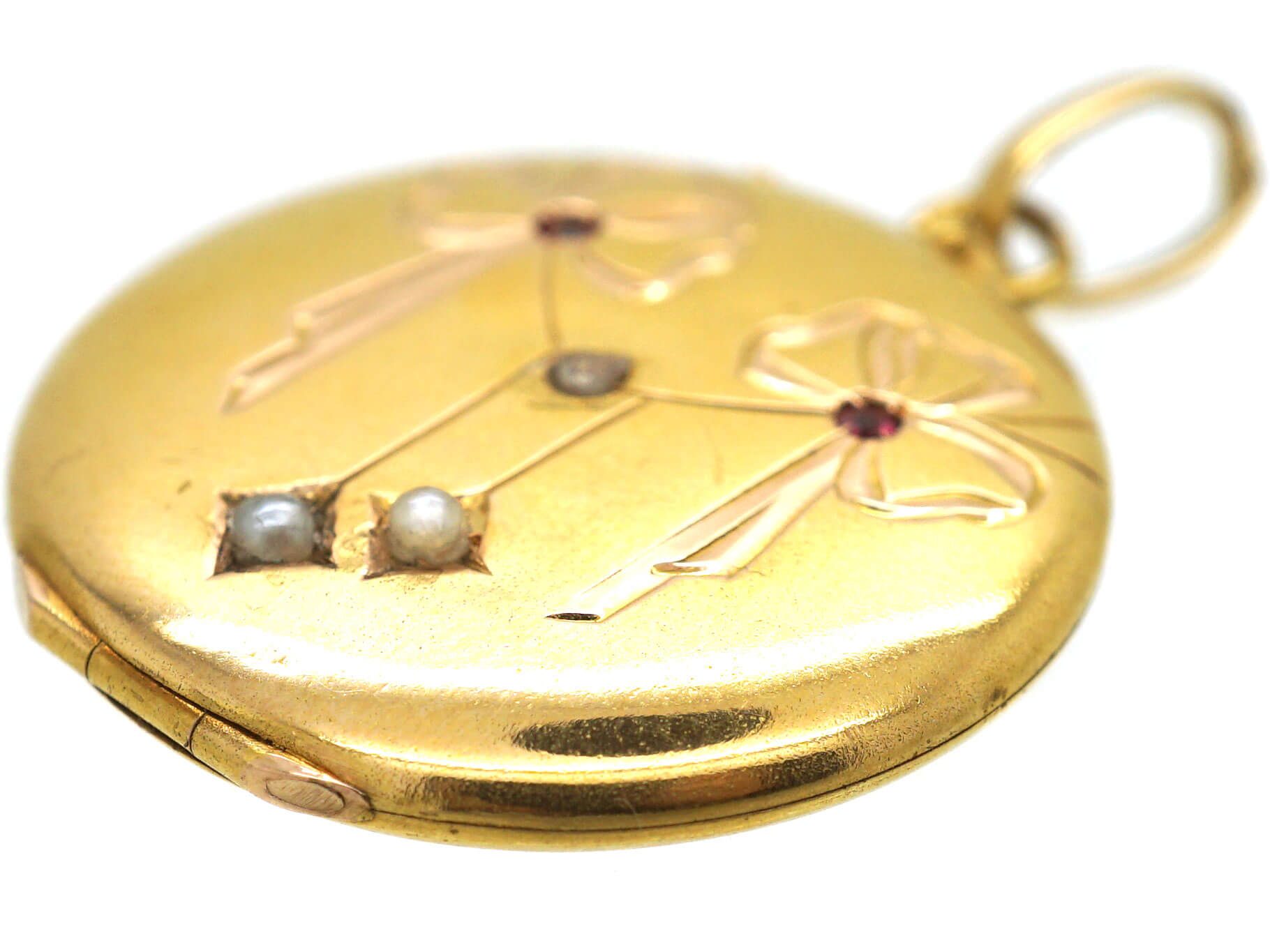 French 18ct Gold Round Locket with Bow & Drops Motif