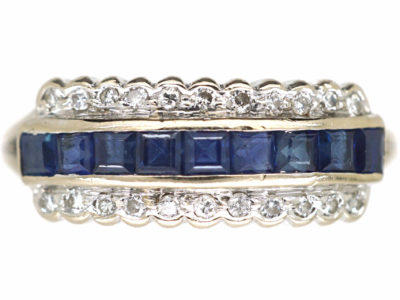 18ct White Gold, Sapphire & Diamond Three Row Ring