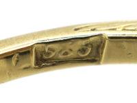 Art Deco 14ct Gold & Platinum & Diamond Three Stone Diamond Ring with Rose Diamond Detail