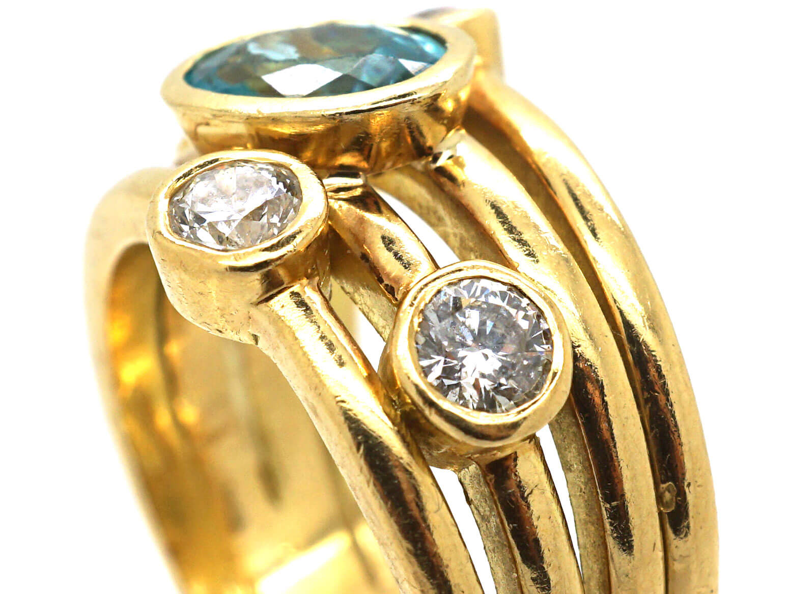 18ct Gold Aquamarine & Diamond Ring from the Raindance Collection by Boodles