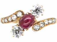 Edwardian 18ct Gold Cabochon Ruby & Diamond Crossover Ring