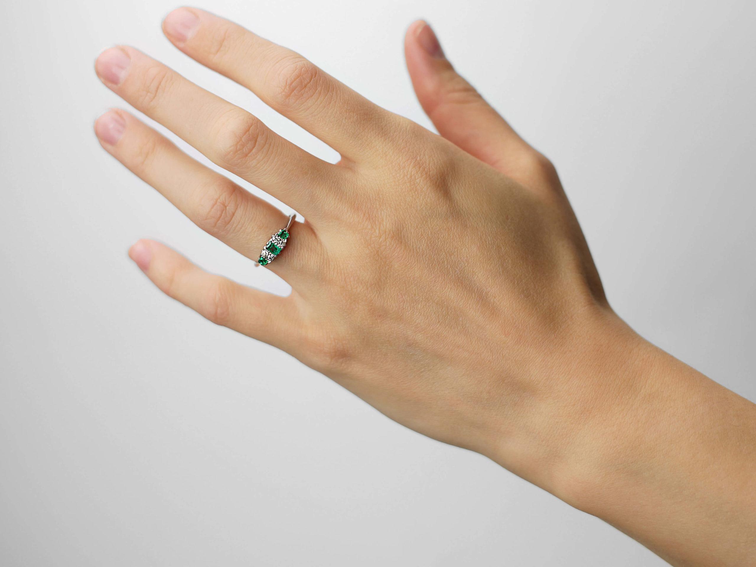 Art Deco Platinum, Three Stone Emerald & Diamond Ring