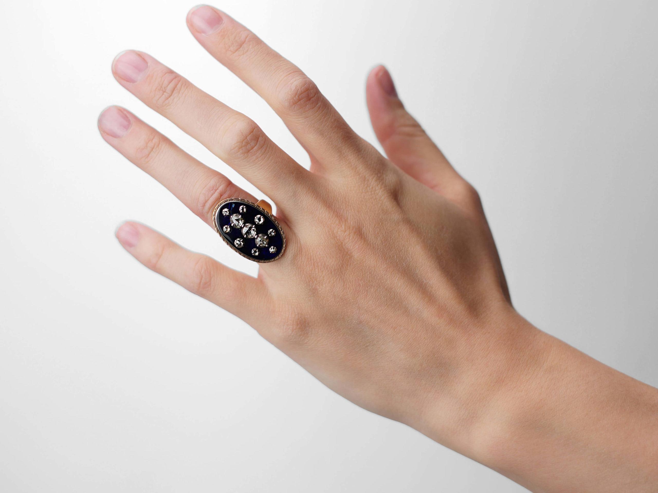 Georgian 9ct Gold Rose Diamond & Blue Glass Firmament Ring
