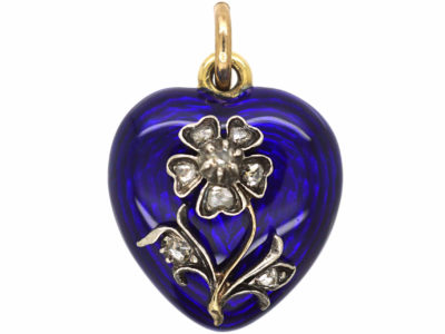Victorian Blue Enamel & Rose Diamond Forget me Not Heart Pendant with Locket Back