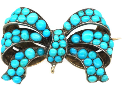 Victorian Bow Brooch Pave Set with Turquoise