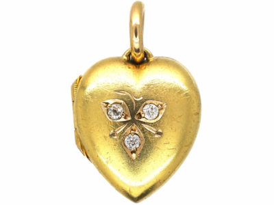 Edwardian 15ct Gold Heart Shaped Locket set with Three Diamonds