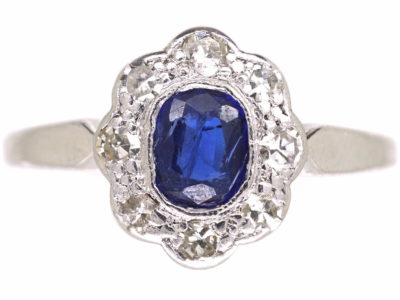 Edwardian 18ct White Gold & Platinum, Sapphire & Diamond Oval Cluster Ring