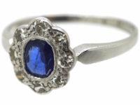 Edwardian 18ct White Gold & Platinum, Sapphire & Diamond Oval Cluster Ring