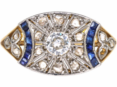 Art Deco 18ct Gold & Platinum, Sapphire & Diamond Geometric Ring