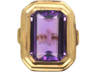Art Deco Large Rectangular Amethyst Ring