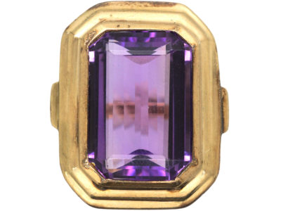 Art Deco Large Rectangular Amethyst Ring