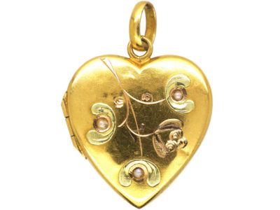 Art Nouveau 18ct Two Colour Gold Heart Shaped Mistletoe Motif Locket set with Three Natural Split Pearls