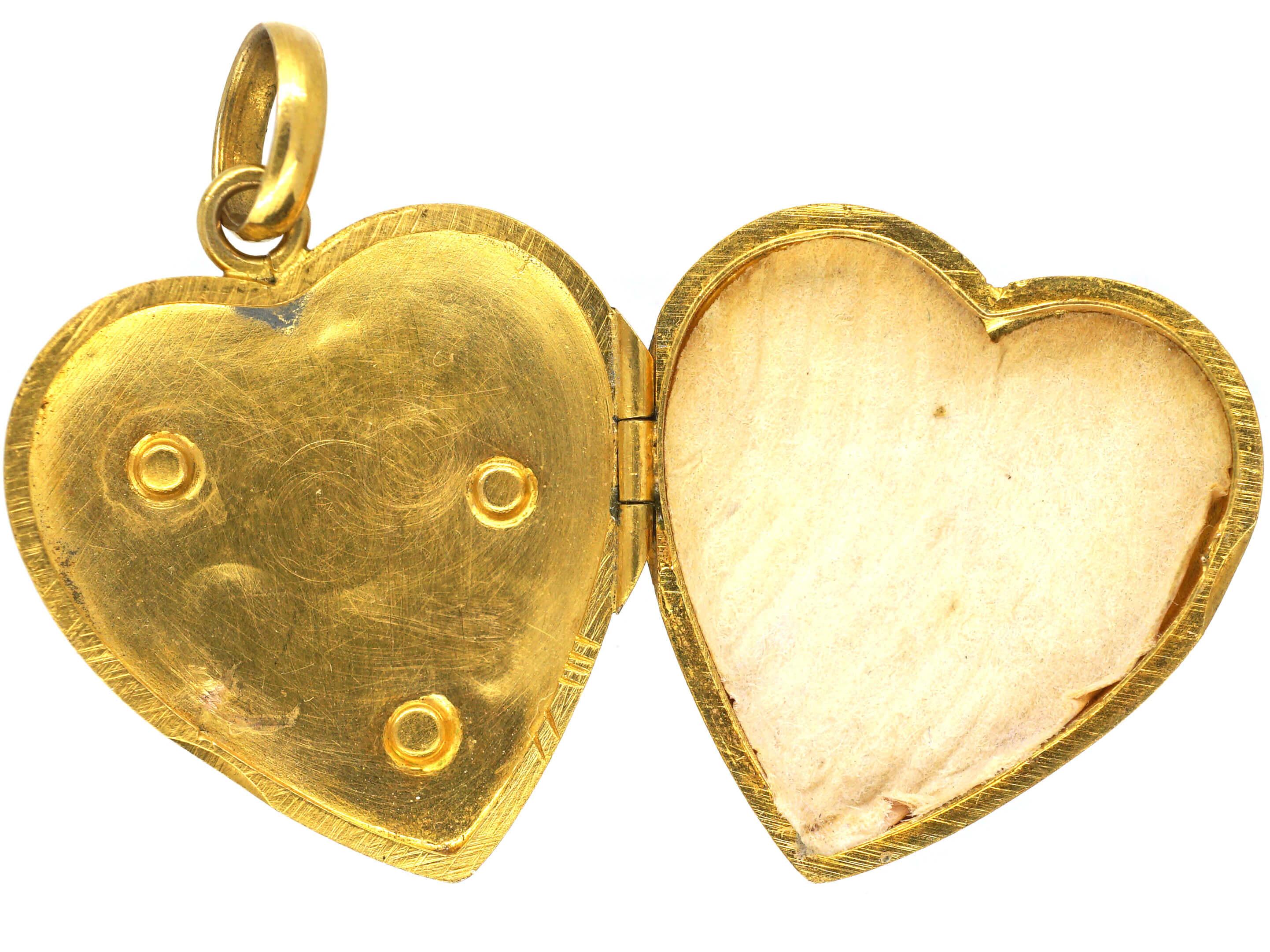 Art Nouveau 18ct Two Colour Gold Heart Shaped Mistletoe Motif Locket set with Three Natural Split Pearls