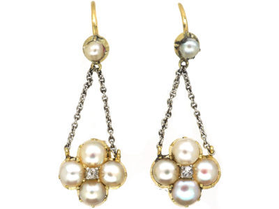 Edwardian 15ct Gold & Platinum, Natural Split Pearl & Diamond Drop Earrings