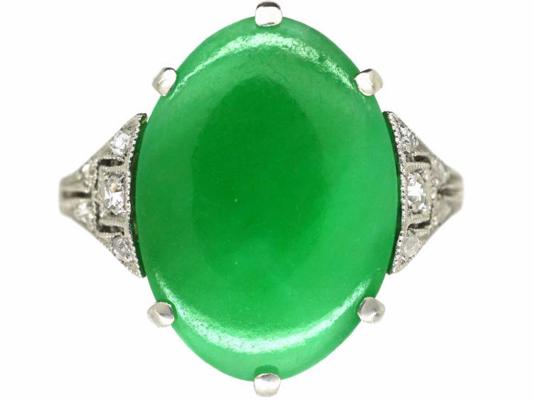 Art Deco 18ct White Gold, Jade & Diamond Ring