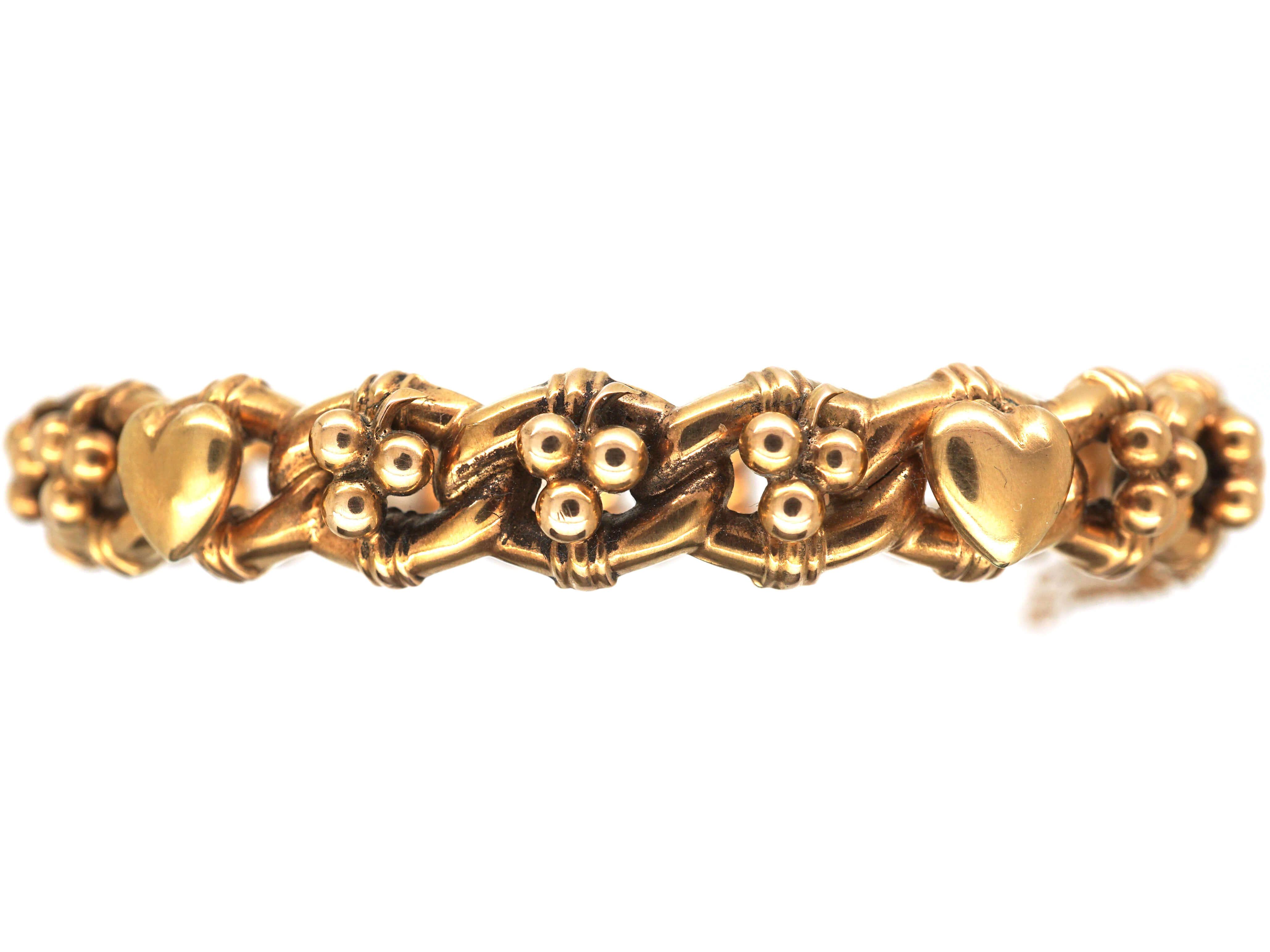 Edwardian 9ct Gold Hearts & Clovers Bangle