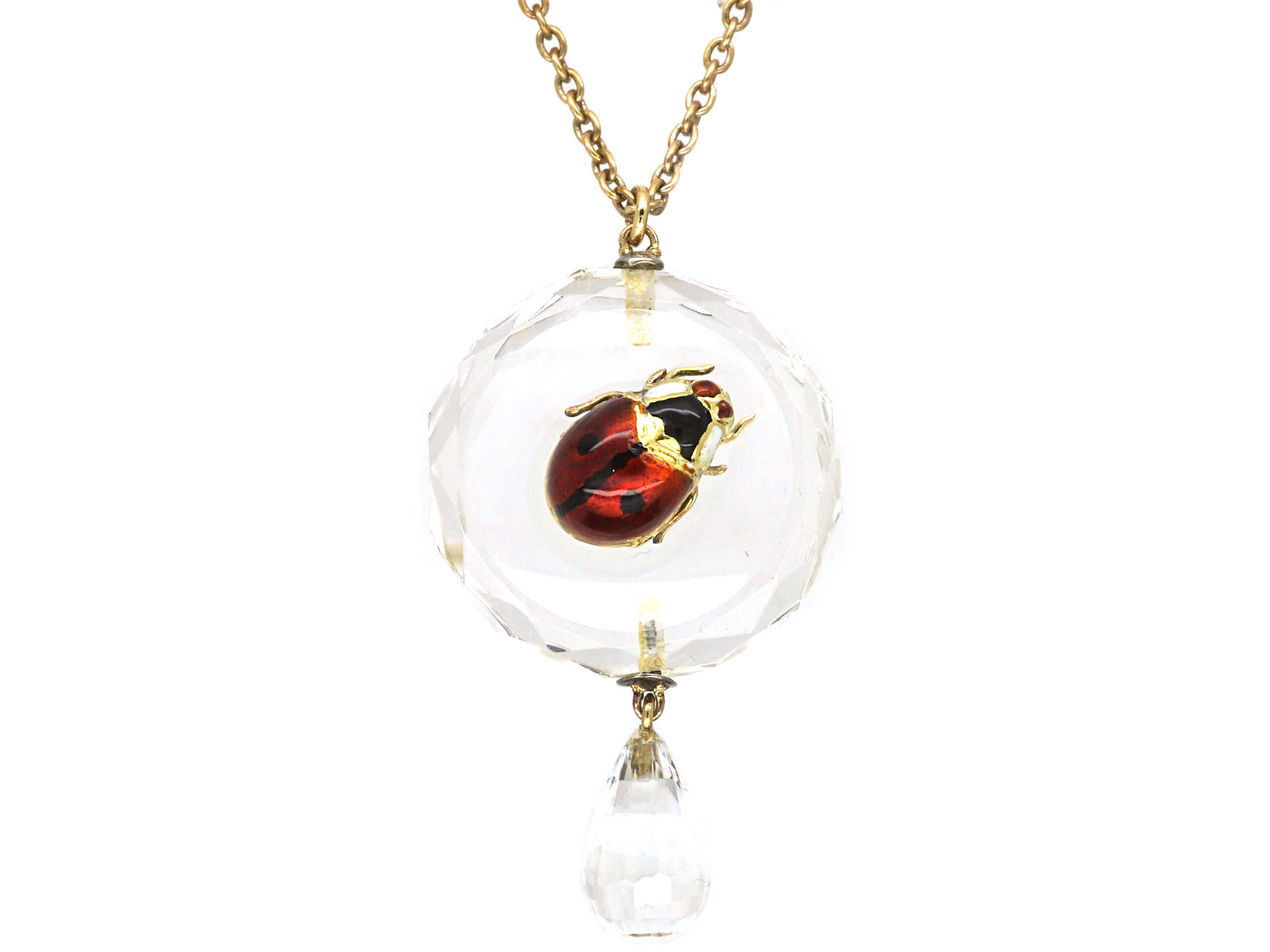 Edwardian Rock Crystal Pendant with an Enamelled Ladybird on 9ct Gold Chain