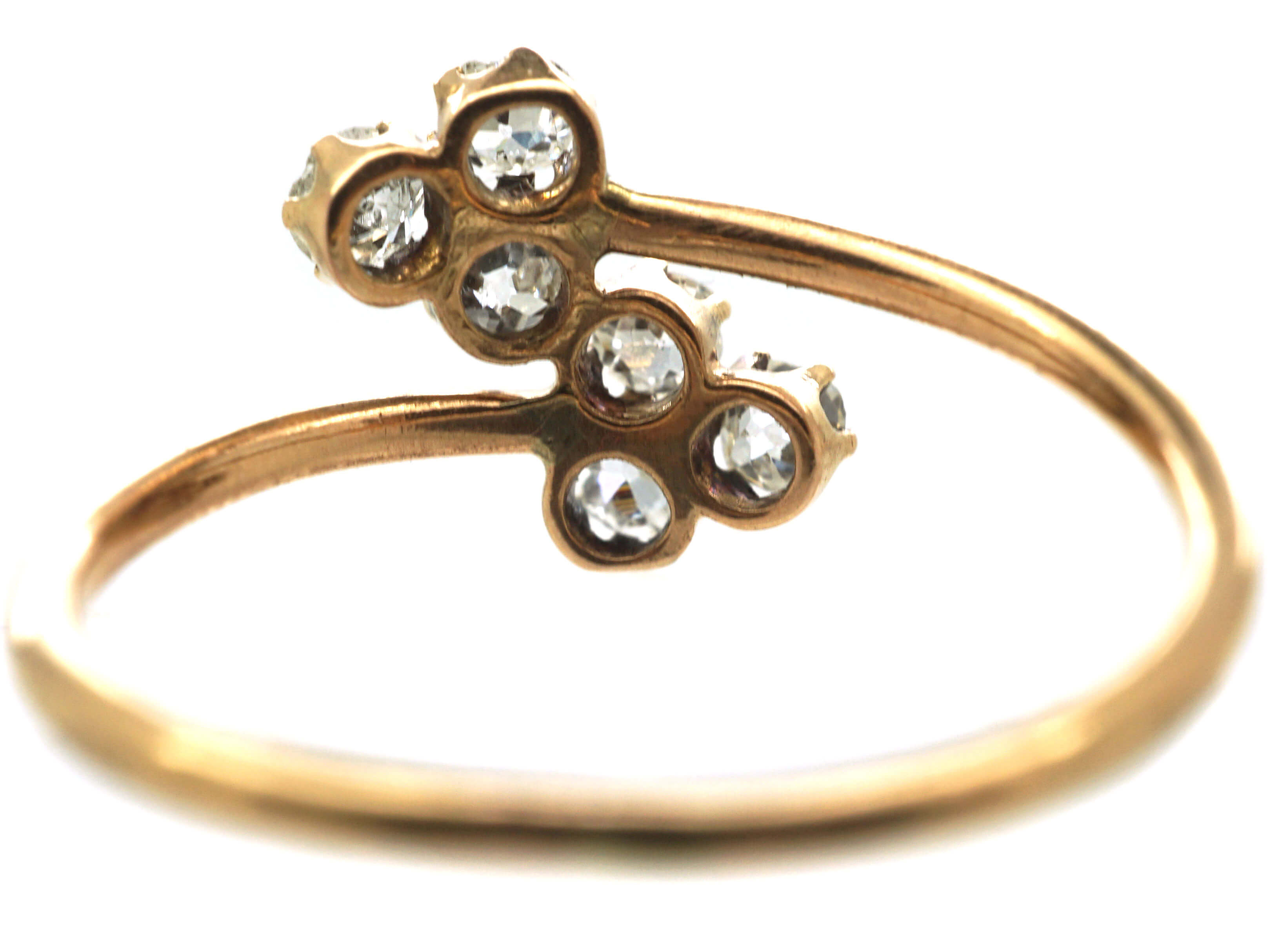 Edwardian 14ct Gold Double Clover Crossover Ring set with Diamonds