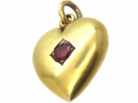 Edwardian 15ct Gold Heart Shaped Pendant set with a Ruby